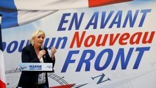 Marine Le Pen será reeleita presidente da sigla durante congresso da Frente Nacional que acontece neste final de semana, 10 e 11 de março de 2018,, em Lille.