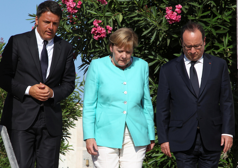Matteo Renzi, Angela Merkel e François Hollande