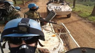 La Monusco, la Mission des Nations unies en République démocratique du Congo, est l'une des quinze missions onusiennes. Ici à Butembo, dans le Nord Kivu, le 22 février 2018.