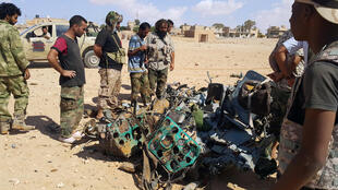 Wreckage claimed to be that of the helicopter in which the French special forces mwmbers were travellling near Benghazi