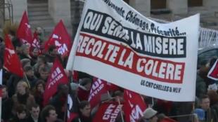 An unemployment demonstration in Paris on 1 December 2012