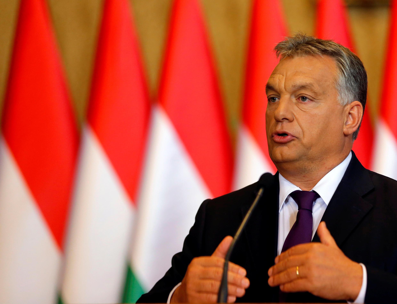 Thủ tướng Hung Viktor Orban trong một cuộc họp báo tại Budapest, ngày 4/10/2016.