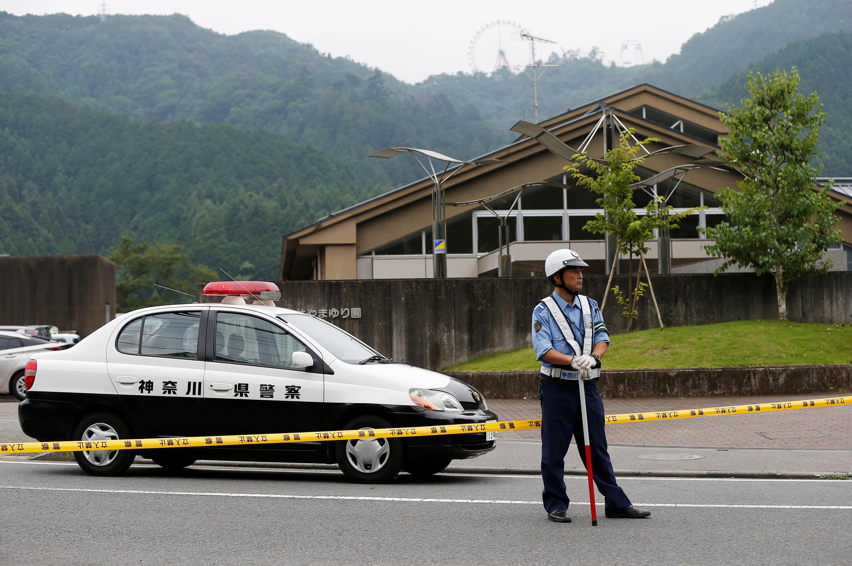Barreira policial  na zona em  que ocorreu o massacre de Sagamihara. 26 de Julho de 2016