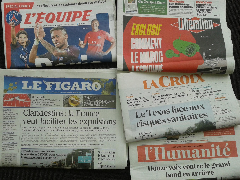 Imprensa francesa do dia 5.9.2017