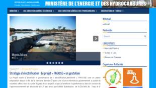 Le site du ministère malgache de l'Energie, qui vient d'autoriser une mise en concession privée dans le domaine de l'énergie, une des raison de la colère des syndicats de la Jirama.