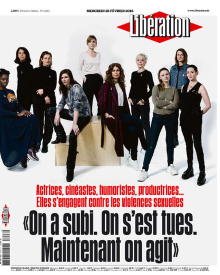 """Capa do jornal Libération desta quarta-feira (28): """"Sofremos. Morremos. Agora agimos""""."""