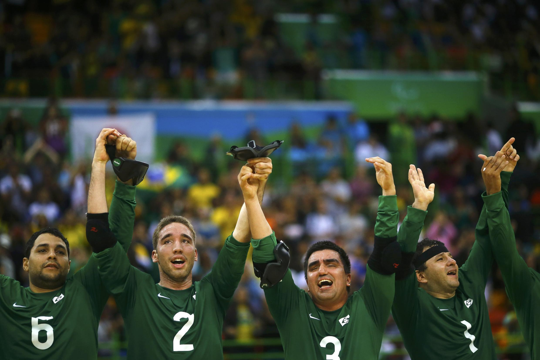 Equipe masculina de goalball do Brasil.