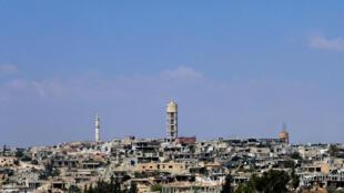 La ville de Khan Cheikhoun le 18 août 2019 avant l'entrée dans la ville des forces de Bachar el-Assad.