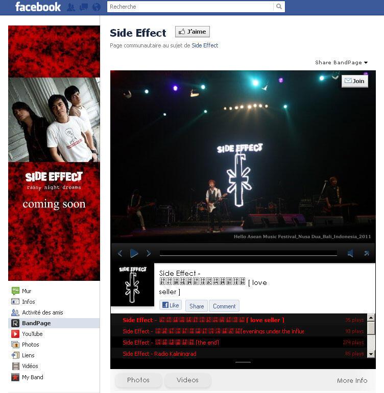 Page Facebook du groupe de rock birman Side Effect.