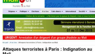 Page de garde de Malijet, le site web de l'hebdomadaire malien Le Républicain (Capture d'écran).