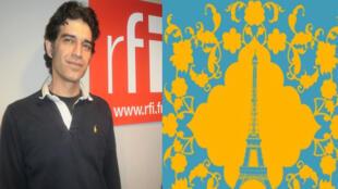 Payman Rasti Nosrahi, chimiste et restaurateur iranien. A droite: l'affiche des fêtes du Norouz, le Nouvel An persan, à Paris.