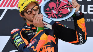 Remy Gardner celebrates on the podium after the winning the Italian Moto2 GP at Mugello at the weekend. Now he has been promoted to the premier class next season