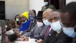 La délégation de la Cédéao lors de sa rencontre avec la junte au Mali, le 22 août 2020.