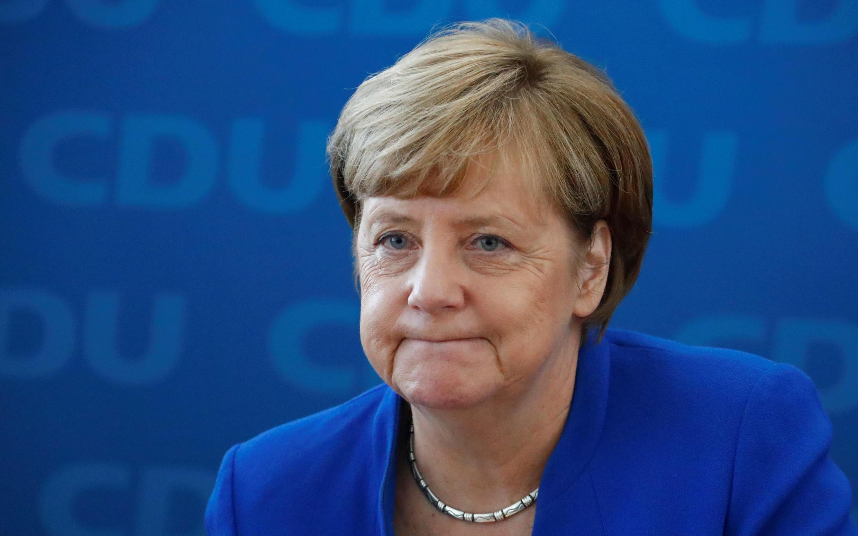 La chancelière allemande Angela Merkel, lors d'une conférence de presse, au siège de la CDU à Berlin, le 16 octobre 2017.