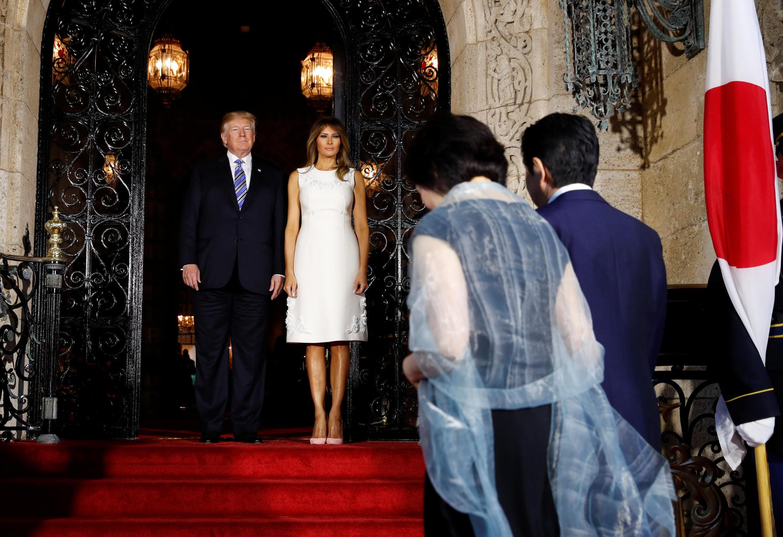 特朗普夫婦迎接到訪的安倍夫婦 2018年4月18日