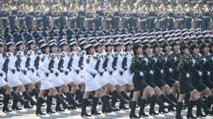 天安门广场的国庆大阅兵, 2019年10月1日。