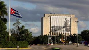Homenagem na Biblioteca Nacional de Cuba na Praça da Revolução ao antigo Presidente cubano