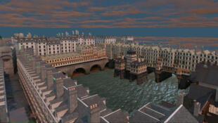 A simulação 3D do centro de Paris que acompanha o áudio.