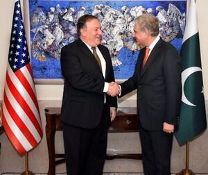 美國國務卿蓬佩奧與巴基斯坦外長庫雷希會談。2018-09-05