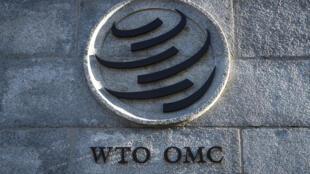 Un logotipo de la Organización Mundial del Comercio (OMC) en su sede central, el 10 de diciembre de 2019 en la ciudad suiza de Ginebra
