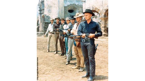 Photo extraite du film «Les Sept mercenaires» de John Sturges (1960): Yul Brynner, Steve McQueen, Horst Buchholz, Charles Bronson, Robert Vaughn, Brad Dexter et James Coburn.