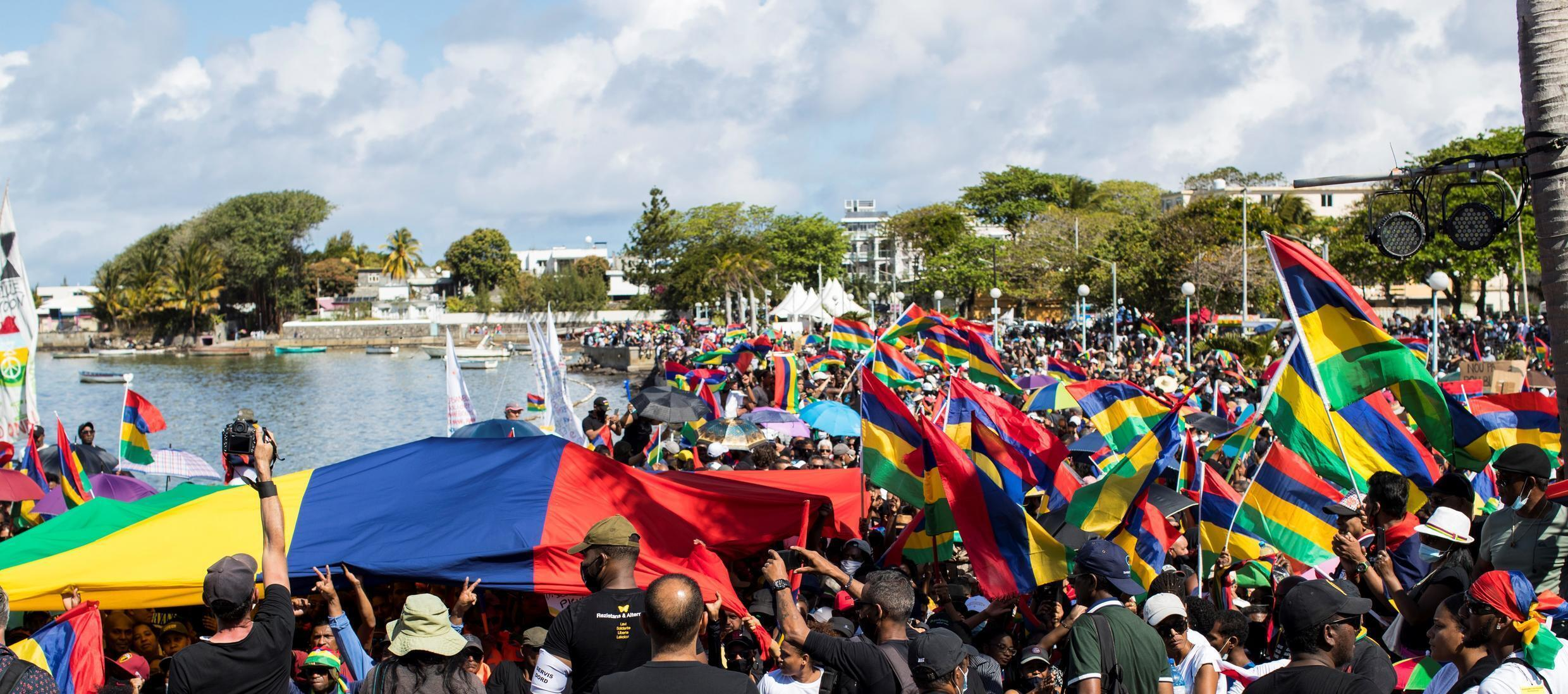 Mahebourg waterfront crowd by Tristan Chaillet Mauritius Maurice