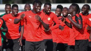 Les joueurs sénégalais lors de leur entrainement du 27 juin 2018.