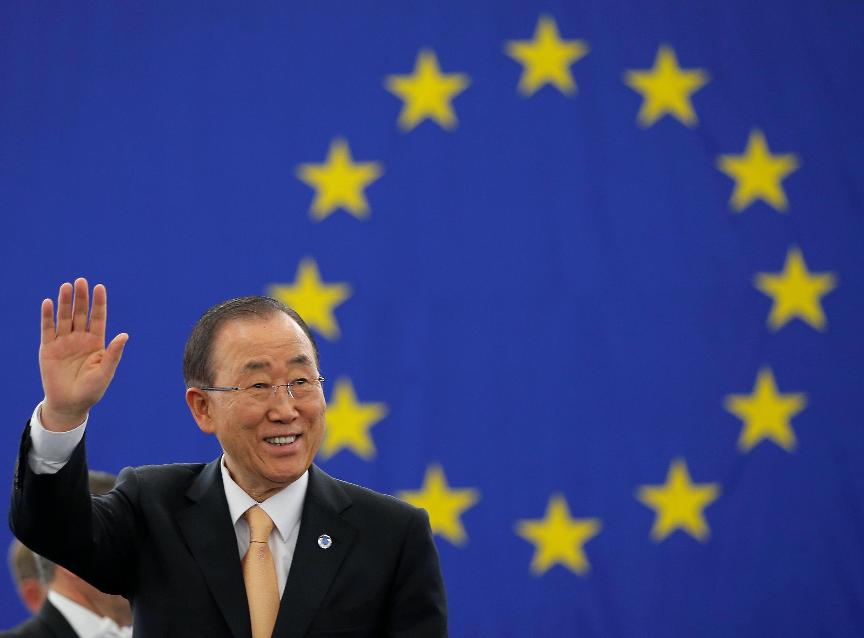 聯合國秘書長潘基文在歐洲議會敦促歐盟立法批准巴黎協定,2016年9月