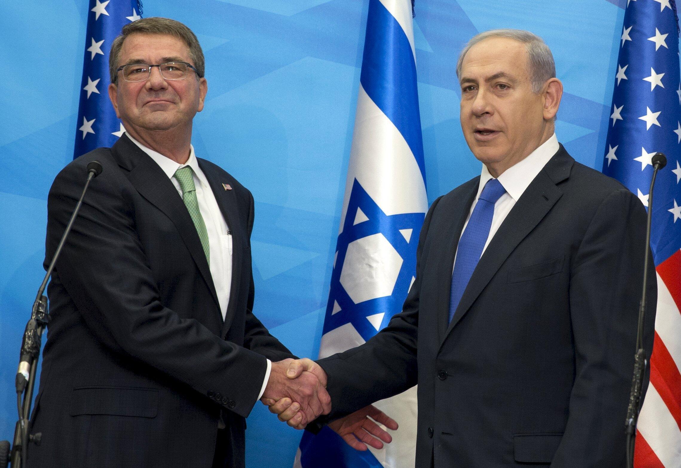Министр обороны США Эштон Картер (слева ) и премьер-министр Израиля Беньямин Нетаньяху, Иерусалим, 21 июля.