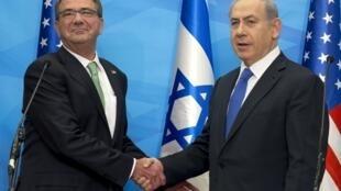 Ashton Carter e Benjamin Netanyahu se encontraram nesta terça-feira em Jerusalém.