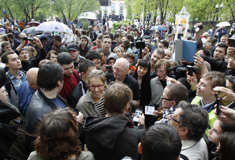 Ксения Собчак приехала поддержать акцию на Чистых Прудах