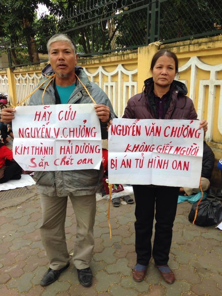 Ông Nguyễn Trường Chinh và bà Nguyễn Thị Bích liên tục kêu oan cho anh Nguyễn Văn Chưởng.