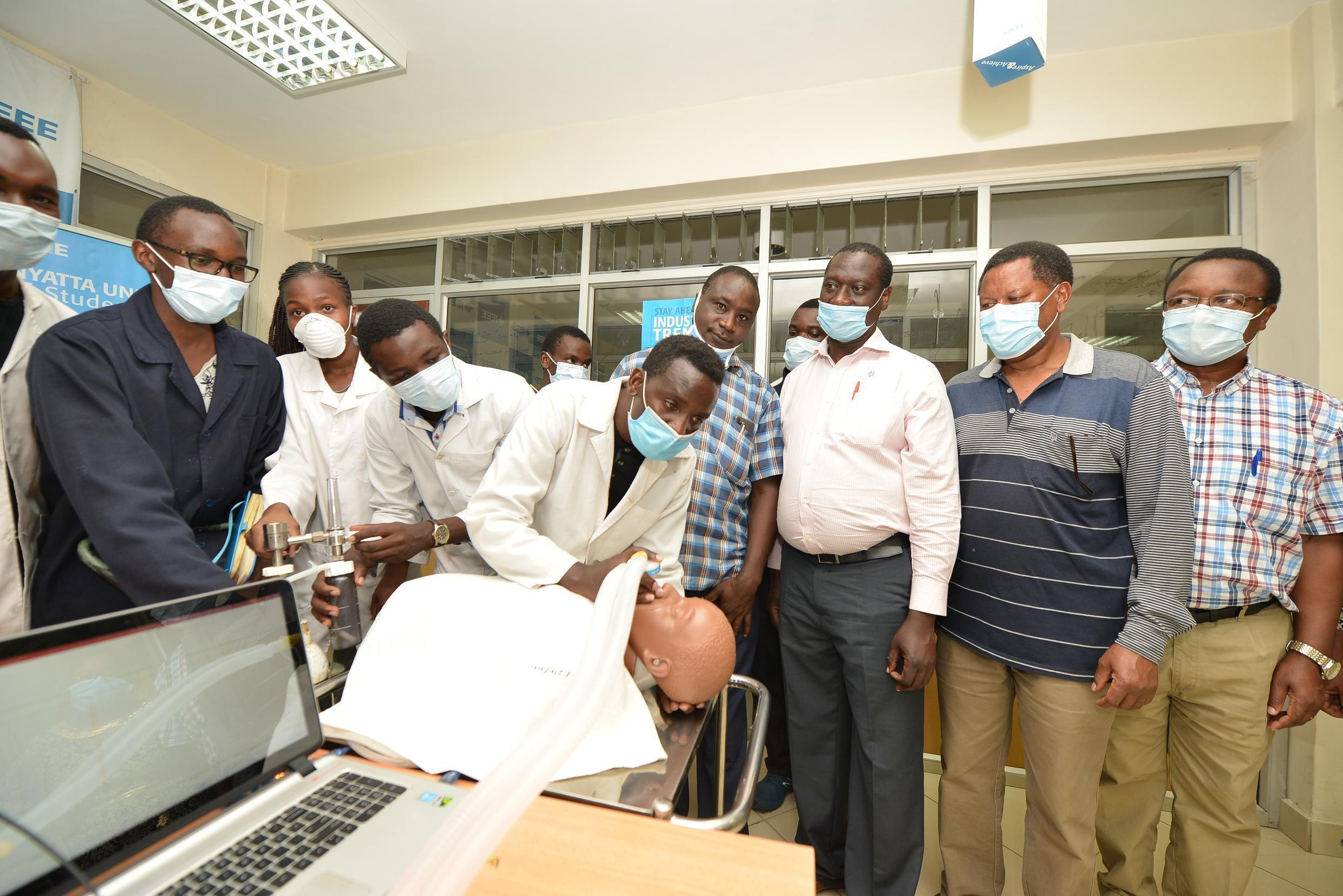 Kenyatta University's Incubation Centre, with Dr Shadrack Maina Mambo, Dean of Engineering and Technology, performing a demonstration.