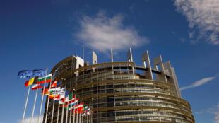 Le siège du Parlement européen, ce samedi 1er juillet, où doivent se dérouler les cérémonies en hommage à Helmut Kohl.