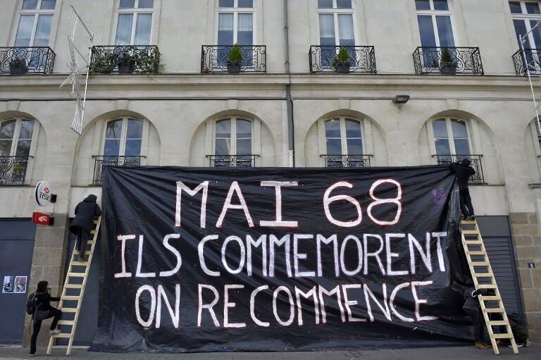 Транспарант в Нанте на акции протеста против политики властей «Май 1968 – они отмечают, мы начинаем все снова», 17 ноября 2017