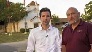 Pastor Frank Pomeroy alongside correspondent Colm Flynn in Sutherland Springs, Texas