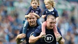 Scotland rugby players Stuart Hogg and Gordon Reid after their 17-14 victory over France in Edinburgh World Cup warm up match, 24 August 2019
