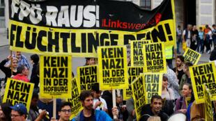 Biểu tình phản đối ứng cử viên cực hữu Norbert Hofer tại Vienna,19/05/2016.
