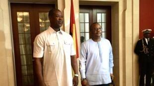 L'autoproclamé président de la Guinée-Bissau, Umaro Sissoco Embalo a investi Nuno Nabian au poste de Premier ministre, à Bissau, le 29 février 2020.
