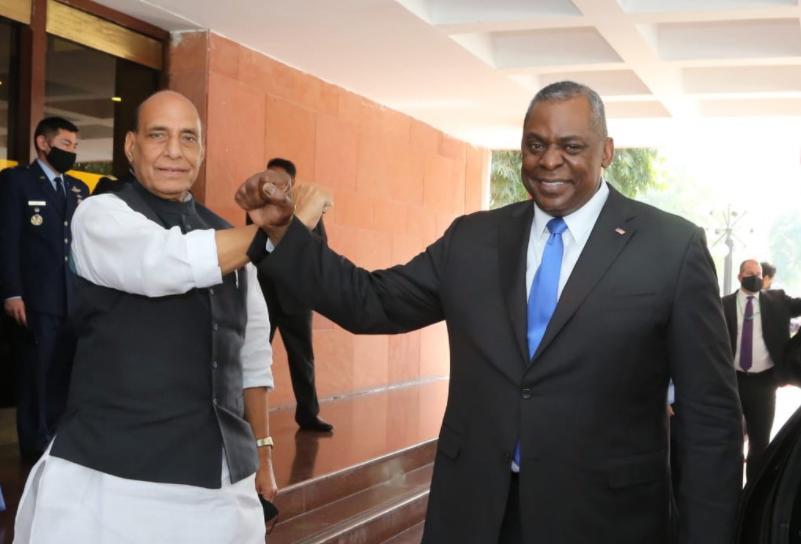印度國防部長辛格與美國國防部長奧斯汀資料圖片