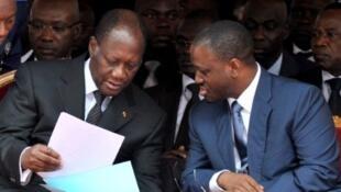 Guillaume Soro et le président Alassane Ouattara, le 7 août 2011, lors de l'anniversaire de l'indépendance ivoirienne.