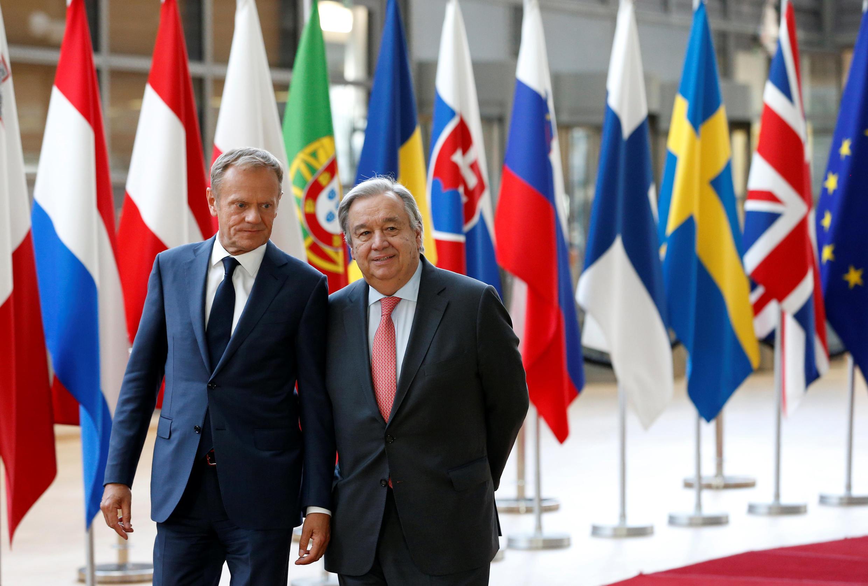 歐盟理事會主席圖斯克與聯合國秘書長古特雷斯
