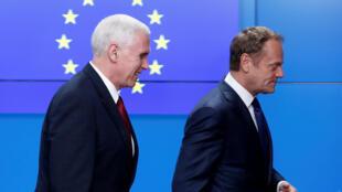 Вице-президент США Майк Пенс и предсатель Европейского совета Дональд Туск, Брюссель, 20 февраля 2017 г.