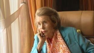 Capture d'écran réalisée lors d'un entretien télévisé sur FR3 Bretagne de Liliane Bettencourt, le 14 juillet 2010.