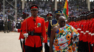President Nana Akufo-Addo inspects guard of honour after swearing in ceremony, Accra,  7 January 2017.