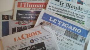 Primeiras páginas dos jornais franceses de 15 de março de 2019