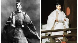 Kwa upande wa kushoto, Mfalme Showa kwa jina maarufu Hirohito (1901-1989). Kwa upande wa kulia, mwanae Akihito, aliyezaliwa mwaka 1933 na ambaye wananchi wa Japani watamwita Heisei baada ya kustaafu.