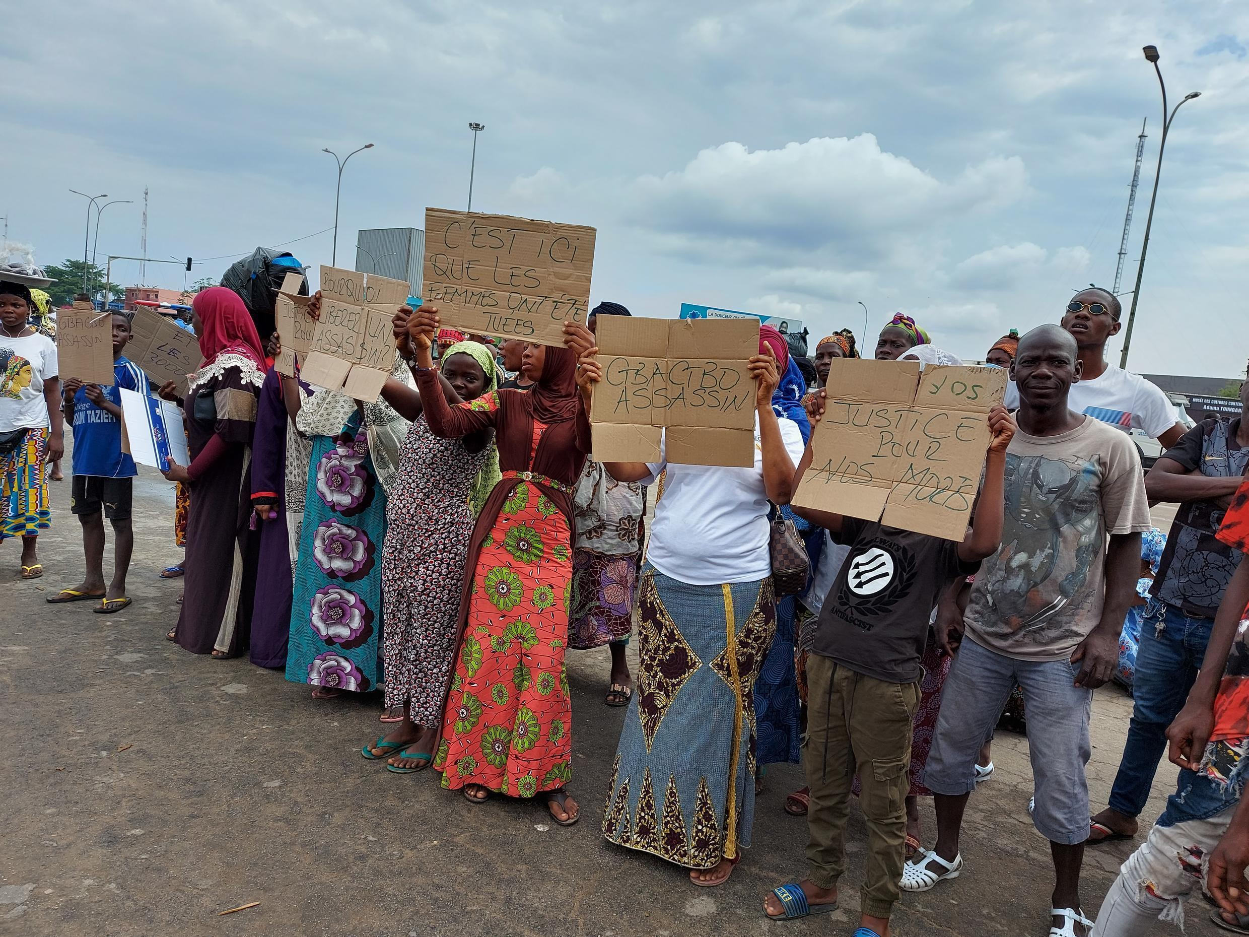 Protests by victims of political violence in Abidjan, Ivory Coast, on Monday, June 14, 2021, two days before the return of Laurent Gbagbo.