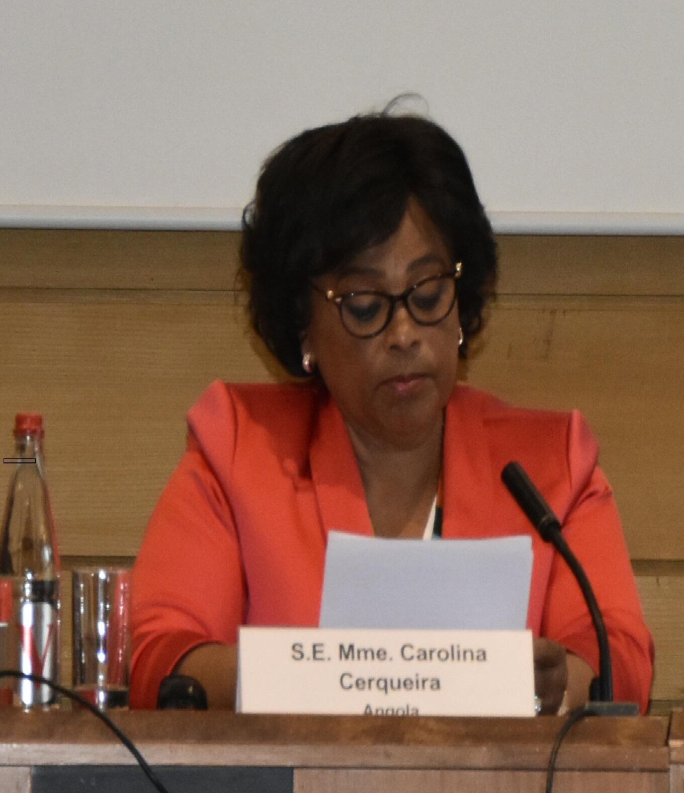 Ministra da Cultura de Angola, Carolina Cerqueira durante o Forum Unesco- África-China. Paris .3 de Junho de 2019