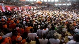 Au Palais des Sports de Treichville, Alassane Ouattara a été adoubé pour être le candidat du RDR à la prochaine présidentielle, le 22 mars 2015 à Abidjan.